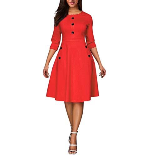 Frauen-Weinlese-Prinzessin O-Neck 3/4 Sleeved Button Party Aline Swing Mini Dress