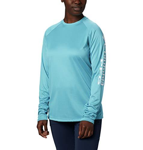 Columbia Damen PFG Tidal Tee Heather Langarm Shirt, UV-Schutz, feuchtigkeitsableitend, Damen Unisex-Erwachsene, Tidal Tee Heather Long Sleeve Shirt, Klares Wassermelder/weißes Logo, Medium