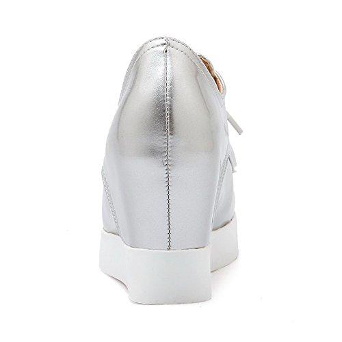 AgooLar Femme Lacet Pointu à Talon Haut Pu Cuir Couleur Unie Chaussures Légeres Argent