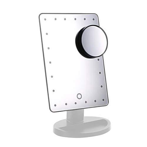ADOV Espejo Maquillaje con Luz, 24 LED Espejo Cosmético de Sobremesa, Aumento 10x, 180° de Rotación, para Cosmético, Afeitado y Viaje - Blanco