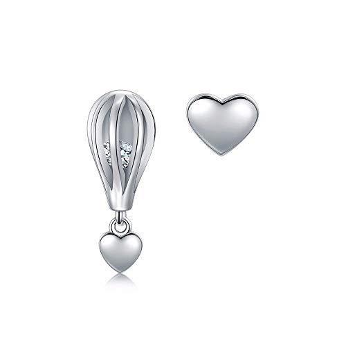 Zjuki Ohrringe 925 Silber Romantische Schaukel Feuer Ballon Herzen Ohrstecker Für Frauen Mode Silber Schmuck Geschenk Mädchen Zubehör Einzigartige Party