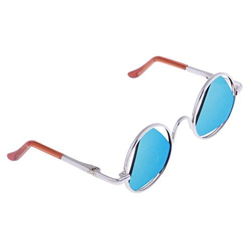 MagiDeal Schöne Puppe Gläser Sonnenbrille - Runde Rahmen mit Dreieck Linse - Zubehör Für 1/6 Blythe Puppe - Minzgrün, Silber Rahmen