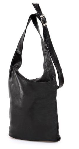 ital. Schultertasche Cross Bag echt Leder Nappaleder Damentasche Ledertasche schwarz , 24,5x28x8,5 cm (B x H x T) (Cross Design-leder)