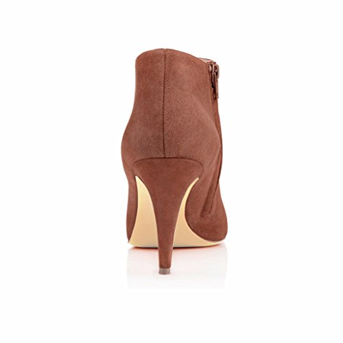 EDEFS Femmes Artisan Fashion Bottines Classiques Elégantes Chaussures à talon aiguille de 85mm Noir Chameau