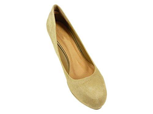 Pumps, Schuh Damen kompensiert High Heels und Plattform Velours Beige