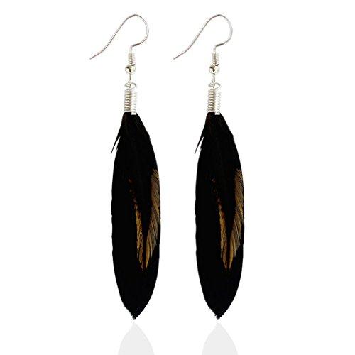 Multicolor pendientes de plumas negro pluma Pendientes de gota de colores populares estilo plata Bohemia Bobury
