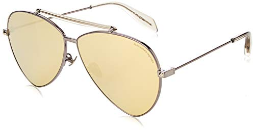 Alexander mcqueen am0058s 003 63 occhiali da sole, grigio (003-ruthenium/gold), uomo