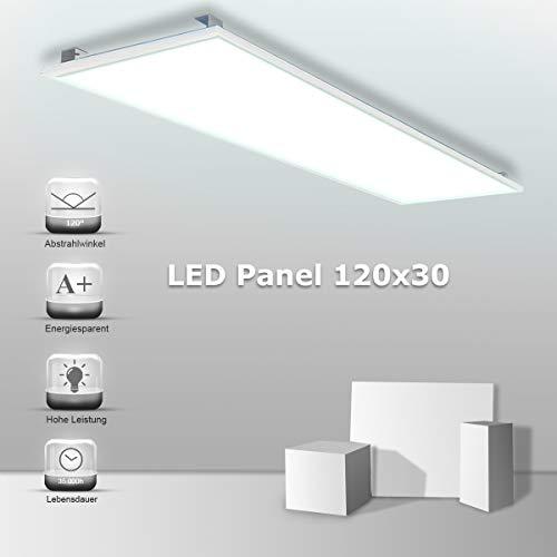 Vkele LED Panel Deckenleuchte 120x30cm High Lumen Wandleuchte Kaltweiß 6000K, 48W, 4800 lumen, Weißrahmen, mit Winkel-Anbauset montieren für Schlafzimmer, Fitnessraum, Büro etc
