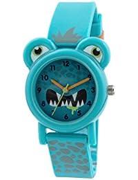 Tikkers Kinder-Armbanduhr Analog Quarz mit Blau Zifferblatt Analog Display und Blau Silikon Riemen tk0098