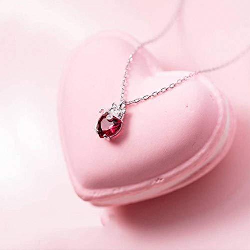 er Halskette Weiblichen Japanischen Stil Mode Katze Anhänger Temperament Persönlichkeit Farbigen Diamanten Herzförmigen Schlüsselbein Kette, S925 Silberkette, Wie Gezeigt ()
