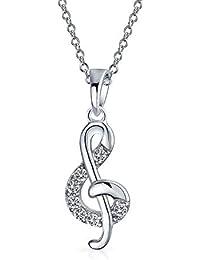 f7b1fe73603 Petite clé de sol Note de musique zircone cubique CZ 925 Pendentif argent  Collier avec chaîne