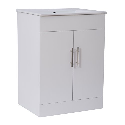 Homcom White Gloss Bathroom Vanity Unit and Ceramic Basin Sink Cloakroom Storage Cabinet Furniture