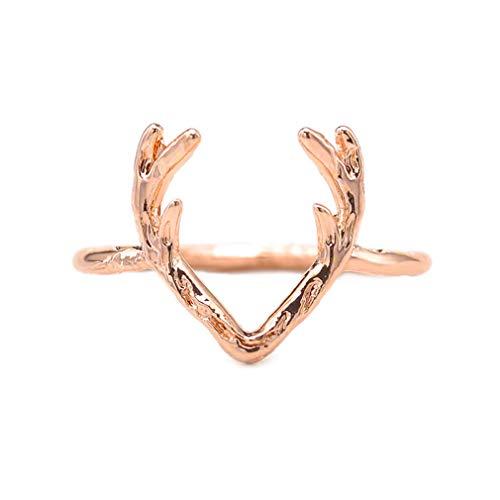 HYhy Elch Geweih Ring dünne Weihnachten Elch Ehering Urlaub Tierstil Engagement Daumenring, Gold, 56,5 mm