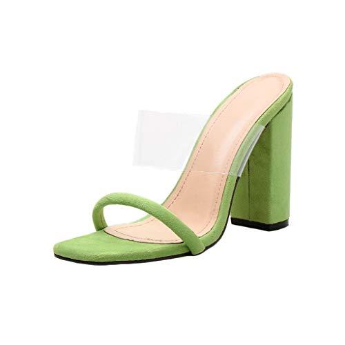✿Eaylis Damen Sandalen Quadratischer Kopf Aus Transparenter Folie Sommer Strand Schuhe Hausschuhe Stilvoll und elegant - Grill Kopf