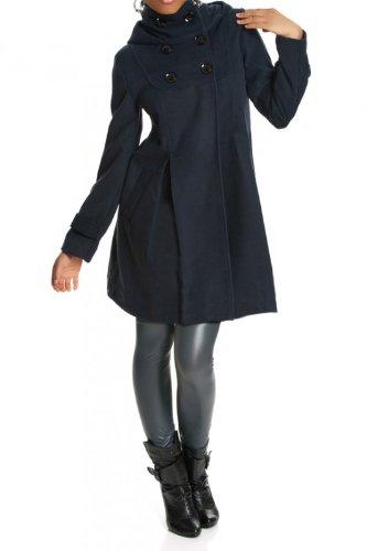 Laeticia Dreams Damen Mantel mit Kapuze Jacke XS S M L XL XXL Marineblau