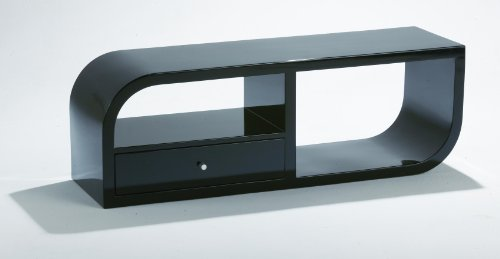 Ultra Modern Contemporary Style TV Stand - High End Quality Furniture - Black Gloss Finish With Built in Sliding Draw
