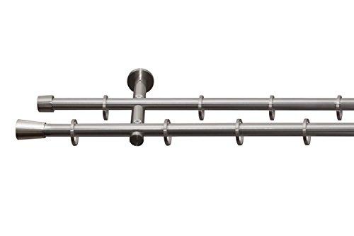 Beyond Drape Gardinenstange auf Maß Ø 16mm Zylinder 2-lauf Ringen Vorhangstange Stilgarnitur Edelstahl Optik 290 cm