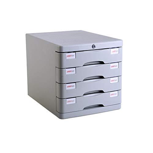 4-lagiger Abschließbarer Datenschrank, Desktop-Aktenschrank Mehrlagiger Schubladen-Aktenschrank Aktenschrank Bürobedarf Tragbarer Und Ordentlicher Aufbewahrungsbehälter (Farbe: Weiß)
