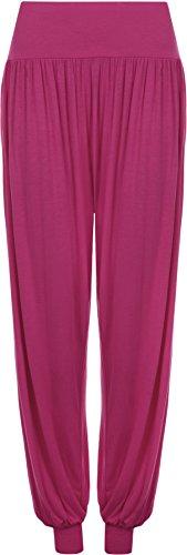 Da Donna Taglie Forti Pantaloni Harem Donna Lunghezza Piena Elasticizzato Pantaloni Casual Formati 12 - 26 Magenta