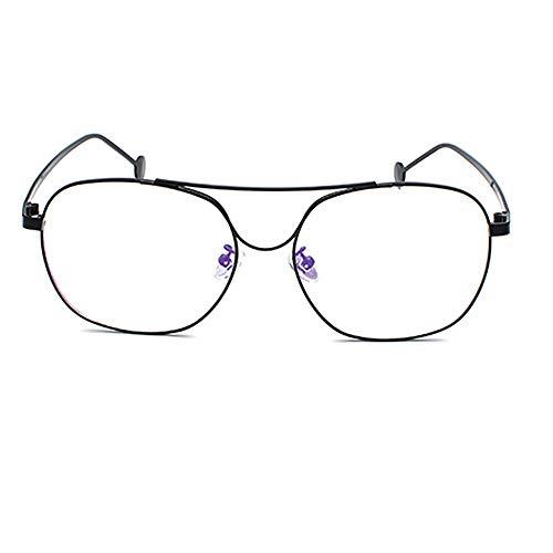 UICICI Brillengestell aus Metall mit dünnen flachen Gläsern Student Brillen Durchsichtige Brillen Nicht rezeptpflichtig (Farbe : Schwarz)