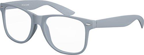 Balinco Hochwertige Nerd Sonnenbrille mit Klarglas matte Rubber Retro Vintage Unisex Brille mit...