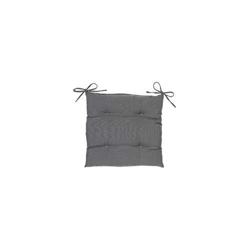 Galette de Chaise carrée 4 Points - 40 x 40 x 4 cm - Polyester - Ardoise
