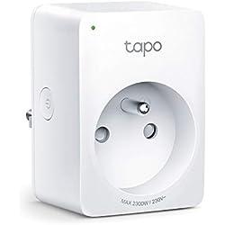 TP-Link Tapo P100(Fr) Prise Connectée Wifi, compatible avec Amazon Alexa (Echo et Echo Dot) et Google Assistant pour la commande Vocale, Aucun Hub Requis, Design compact