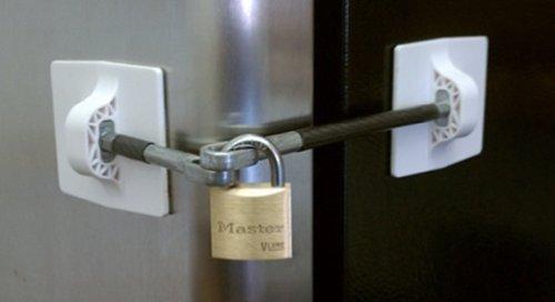 Kühlschrank-Verriegelung mit Vorhängeschloss, Weiß (Computer-security-hardware)