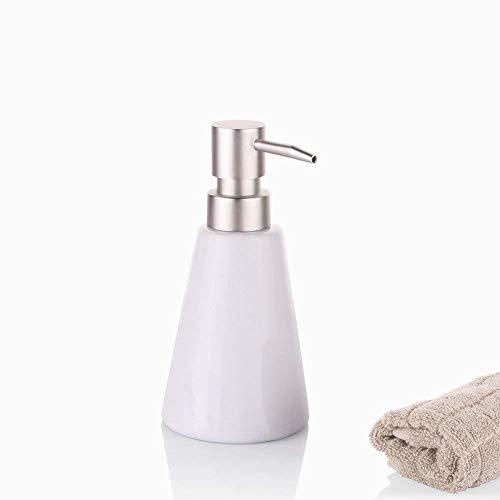 Ouken Seifenspender mit Edelstahl Pumpen Withe Keramik Hand Soap Dispenser-Bad-Accessoires - Keramik-soap