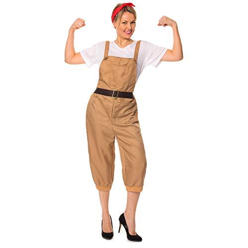 WW2 1940er Land-Mädchen-Frauen-Armee-Weltkrieg-2 Kostüm Größe UK - Weltkrieg 2 Frauen Kostüm