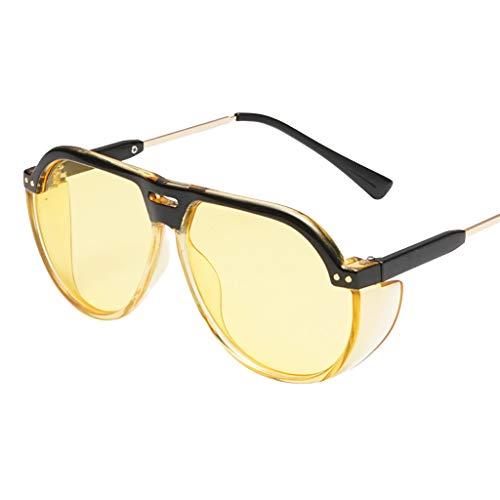 YAM DER Unisex Vintage Sonnenbrillen,Retro Eyewear Fashion Strahlenschutz,Große Rahmen Brille,UV400 - Verspiegelte Gläser,Nacht Vision Blendschutz Brille,Sportbrille,Anti-blaues Licht (Gelb)