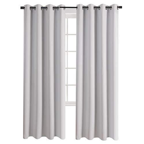 aquazolax isoliert Tüllen massiv Top Blackout Vorhänge für Wohnzimmer, 1Panel, Polyester-Mischgewebe, Greyish White, 52