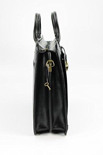 BELLI® Design Bag E XL ital. Leder Handtasche Business Bag - Farbauswahl - 40x30x10 cm (B x H x T) Schwarz