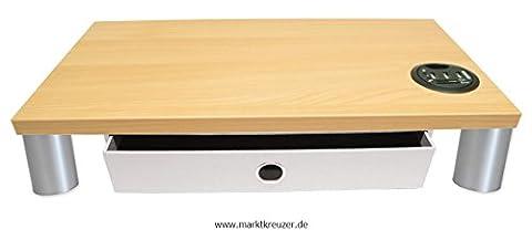 Monitorständer mit Schublade Stone, USB Hub mit Cardreader und Standfüße Kunststoff Matt lackiert - Bildschirmständer Monitorerhöhung Schreibtischregal Podest. Holzart: (Kirsche Hell)