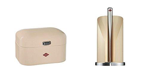 Wesco Single Grandy Brotkasten & Küchenrollenhalter im Set, Farbe: mandel