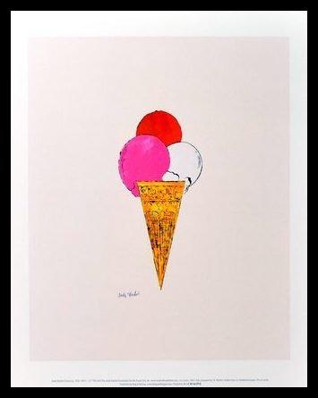 Andy Warhol Ice Cream Dessert Eis c.1959 red pink white Poster Kunstdruck Bild im Alu Rahmen schwarz 42x34cm - Germanposters (Andy Warhol Ice Cream)