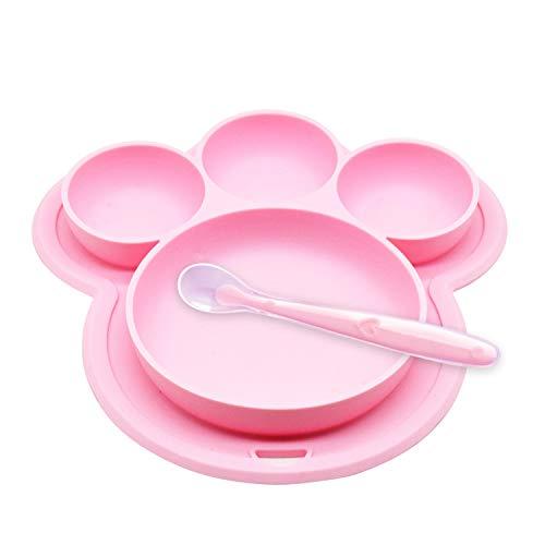 Yuccer Baby Teller Silikon, Kinderteller Rutschfest Unterteilt Tragbare Babyplatte Kleinkindplatte BPA-freie FDA Zugelassene (Pink 2 Stück)