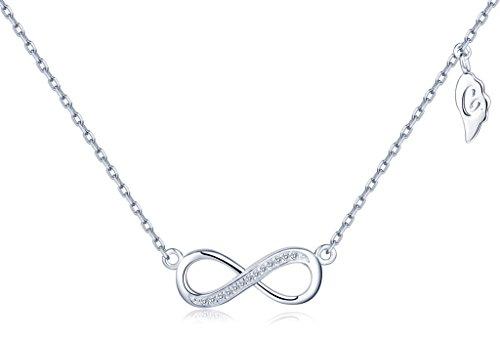 Unendlich U Fashion Unendlichkeit Zeichen Figur 8 Damen Halskette 925 Sterling Silber Zirkonia Anhänger Verstellbare Kette, Silber