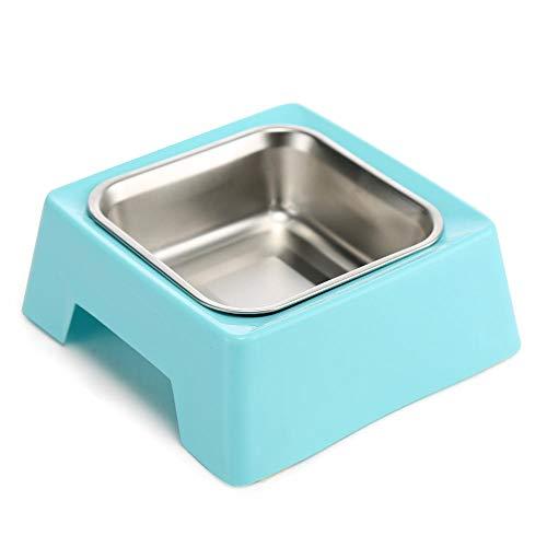 Fressnäpfe für Hunde Fressnäpfe für Katzen Futternapf WassernapfTrinkbrunnen mit Anti-Rutsch-Pad liefert Edelstahl sowie Kunststoff Haustierutensilien blaue Bank Einzelschüssel _16.6cm * 16.6cm * 6c -