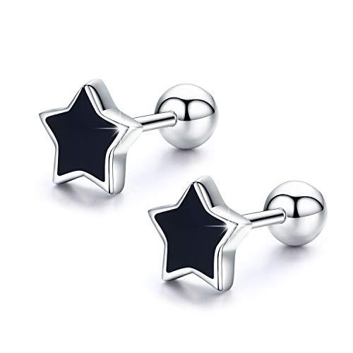 Sterne Ohrringe für Damen Herren,925 Sterling Silber Ohrringe Schmuck für Mädchen Zurück Stern Ohrringe Silber Mädchen Ohrstecker Hypoallergen Geschenke für Männer und Frauen (Ohrringe-1)