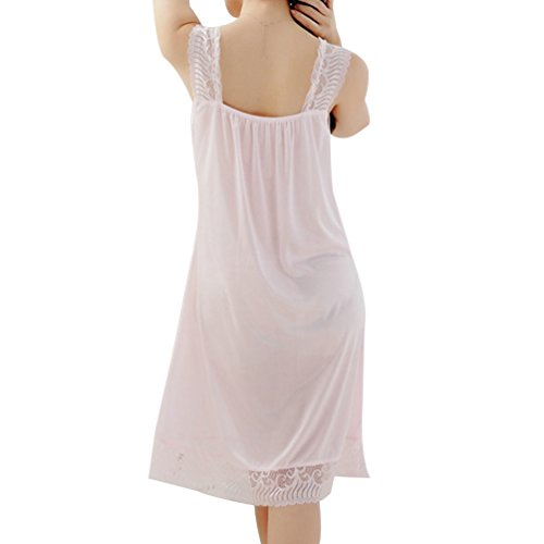 URqueen Women's Silky Lace Lingerie Babydoll Sleepwear Dress Pajamas Lightpink