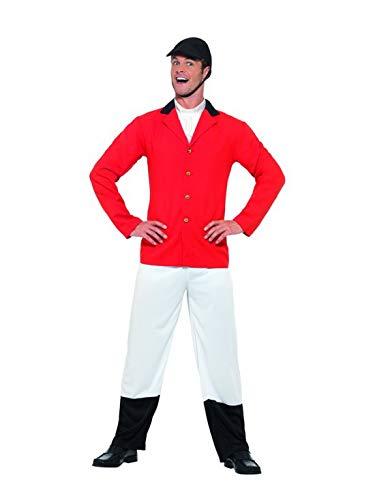 Halloweenia - Herren Männer moderner Jäger Reiter Kostüm mit Jacket, Hose und Hut, perfekt für Karneval, Fasching und Fastnacht, M, Rot