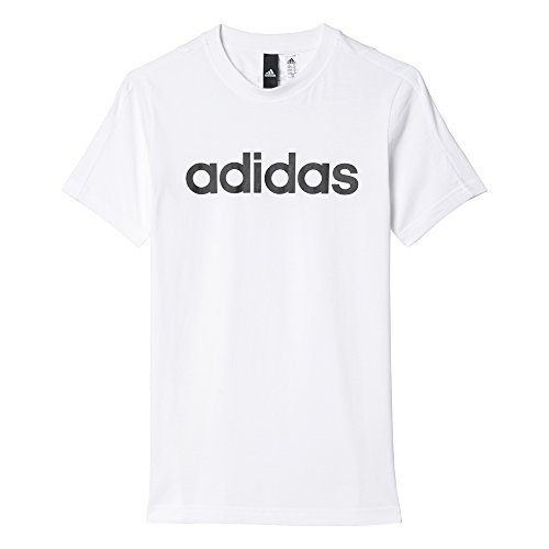 adidas Jungen Essentials Linear T-Shirt, White, 128 (Groß Und Hoch T-shirt Performance)