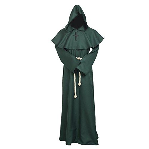 BLESSUME Priester Mönch Kostüm Robe Mönch Mittelalterliche Kapuze Kapuzenmönch Renaissance Robe Kostüm (Grün, XL) -