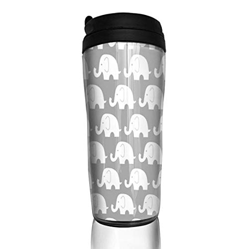 Travel Coffee Mug Jumbo Elephant On Grey 12 Oz Spill Proof Flip Lid Water Bottle Environmental Protection Material ABS