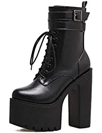 5c4cf02b7ede Shiney Frauen Martin Stiefel Klassische Chunky Heel Wasserdichte Plattform  Super High Heel Herbst Winter 15 cm