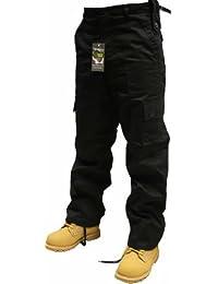 """Adultes Uni Armée Combat Pantalons, Noir, Marine, Olive, Beige/Kaki et bien plus encore, Taille 28""""-50"""", Longueur 30"""", 32"""", 86.4cm (noir, W30/L30)"""