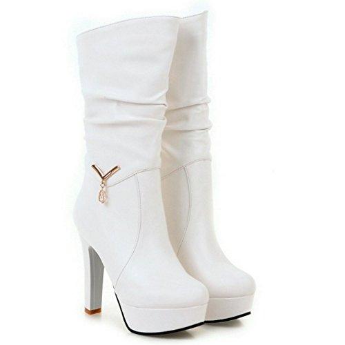 RAZAMAZA Femmes Mode Mi-Bottes Plateforme Talon Haut Soiree white