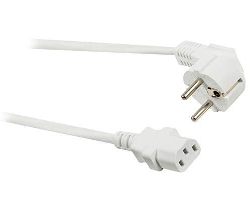 Eurosell Netzkabel Kaltgerätekabel Kaltgeräte Kabel Typ F (CEE 7/4) - IEC-320-C13 2 - 10Meter Weiss (10m)
