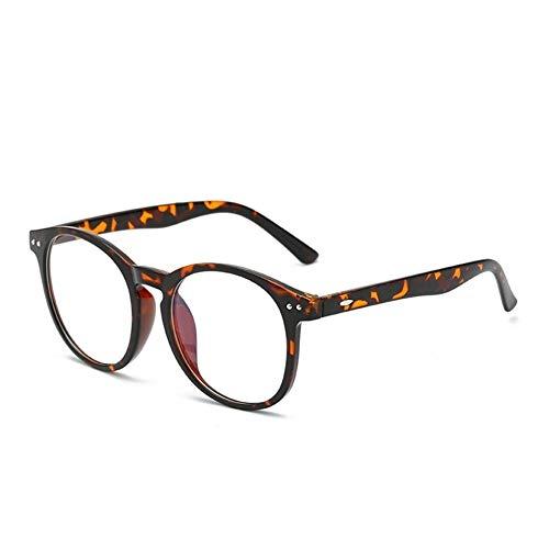 Computer Brille Anti Blue Light Blocking Filter Gaming Brillen Frauen Runde Leopard Klar Brillengestell (Frame Color : C6 Leopard)